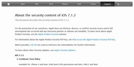 iOS7.1.2 iPhone4sアップデート