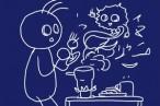 ステンレス鍋が焦げ付いちゃった。重曹、酢でがんばって、だいぶ取れたけどもう一声。