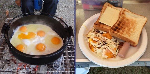 すき焼き鍋で目玉焼き