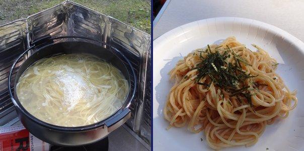 すき焼き鍋でスパゲティ
