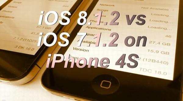 iPhone4sでiOS 7.1.2とiOS 8.1.2の比較