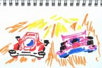 TOYz BAR◆無改造どノーマルミニ四駆はどれくらい速いかな?中径ホイールと大径ホイールを実際にコースを走らせて検証。