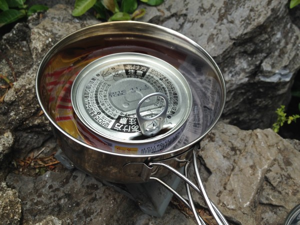 SiSO-LAB☆缶詰を湯せんで温める方法・ダイソーアウトドア用ステンレス食器