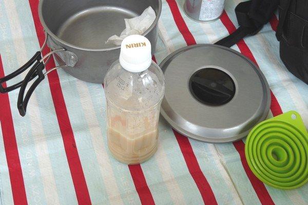 SiSO-LAB☆ハイキングで山ランチ。残り汁処理はジョウゴとペットボトルが簡単。