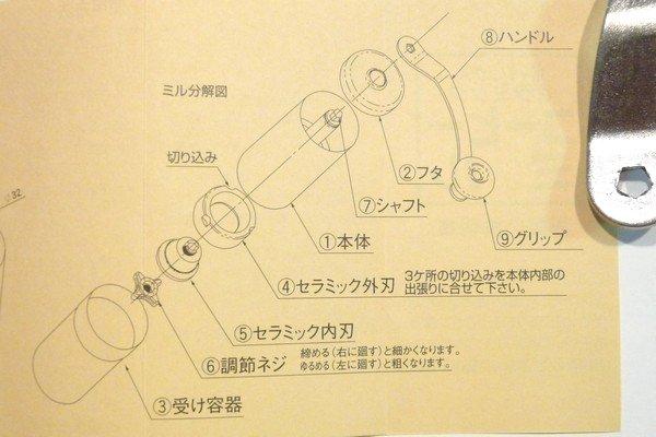 SiSSiSO-LAB☆ポーレックス セラミックミル。説明書。