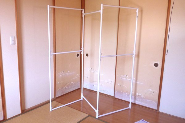 SiSO-LAB☆折りたたみランドリースタンドSTIK-P3W。室内干しに便利。組立。完成!