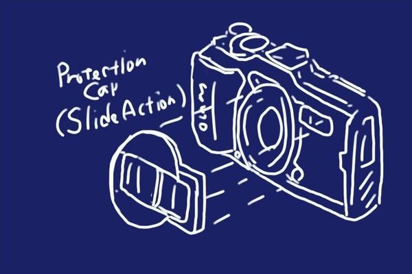SiSO-LAB☆OLYMPUS TG-5用スライド式レンズキャップ UNX-9537。