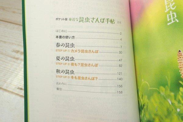 SiSO-LAB☆文庫簿サイズのポケット図鑑、昆虫さんぽ手帖。目次。