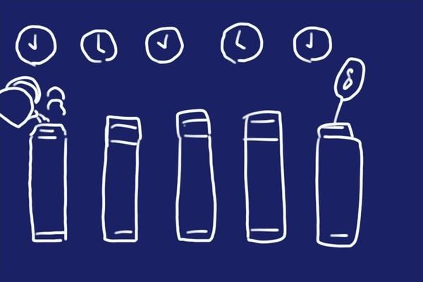 ステンレスボトル保温性能実験、6時間経過で約89℃キープ。 軽くて保温・保冷能力高し。モンベル アルパイン サーモボトル 0.9L。