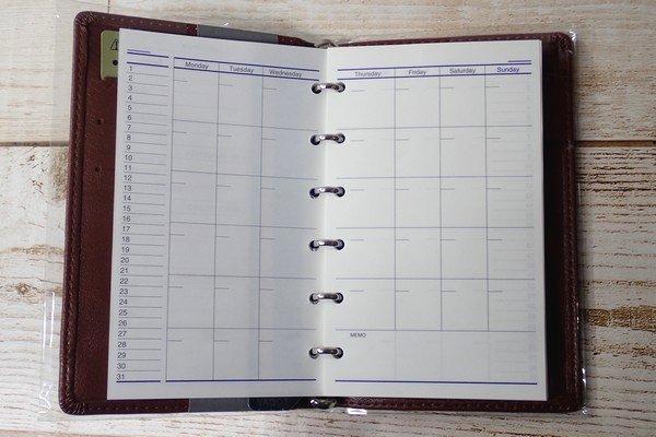 SiSO-LAB☆レイメイJWP5003 ポケットシステム手帳。元々のリフィル。スケジュール。
