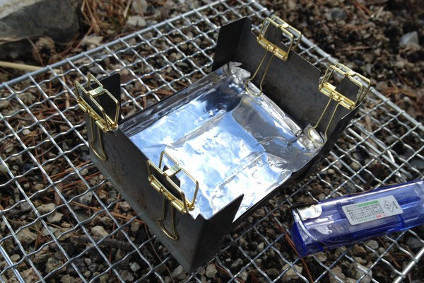SiSO-LAB☆山ランチ、ポケットストーブでカルボナーラポテト。ESBITポケットストーブ。アルミナベ穴あき対策。