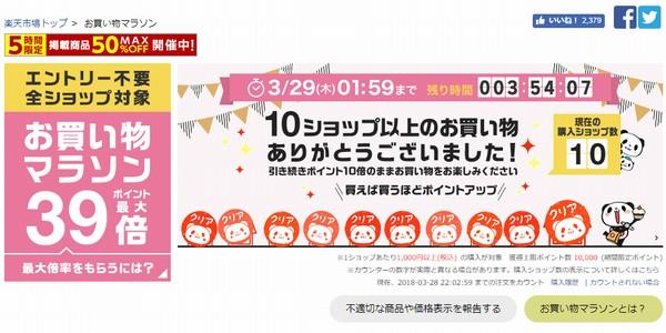 SiSO-LAB☆HP Pavilion 15購入と楽天お買い物マラソン攻略方法。10ショップ回ったときの楽天の表示。