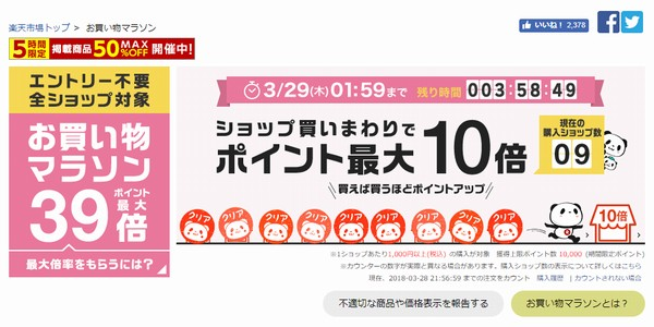 SiSO-LAB☆HP Pavilion 15購入と楽天お買い物マラソン攻略方法。9ショップ回った楽天の表示。