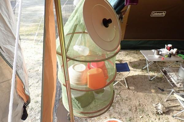 SiSO-LAB☆コールマン・ハンギングドライネット2。タープ内のスペースを有効利用。