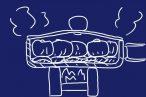 山ランチ!キャベツで蒸し器代わり、チヌークのフライパンで焼売を蒸しちゃうよ。火器もESBITポケットストーブで十分。