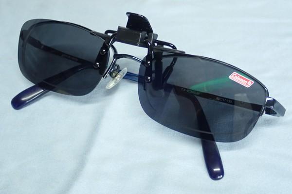 SiSO-LAB☆子ども用?コールマン クリップオン偏光サングラス。装着。子ども用メガネにぴったり。