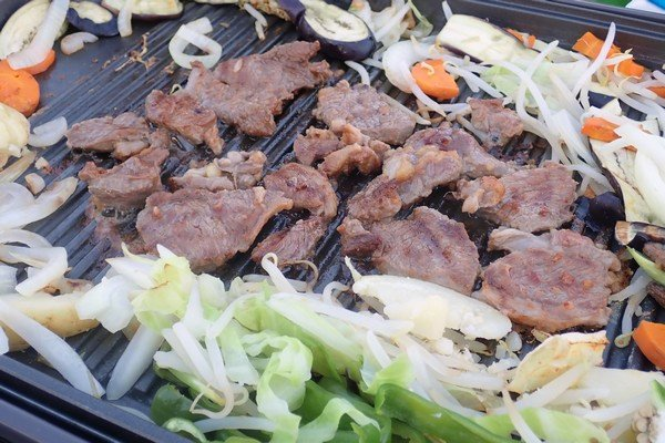 SiSO-LAB☆ふるさと納税 北海道白糠町 鹿肉ブロック。モモ肉をジンギスカン風に。外でホットプレート。