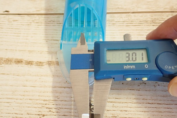SiSO-LAB☆釣り・タカミヤ ディープマリン SC-1031 Large。下部メッシュの隙間寸法チェック。