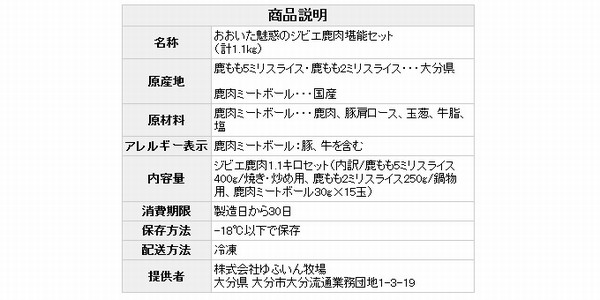 SiSO-LAB☆ふるさと納税・大分県国東市・鹿肉セット。株式会社ゆふいん牧場。