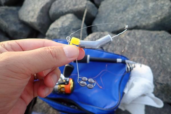 SiSO-LAB☆ハゼ釣り、チョイ投げ、ミャク釣りの融合、広域ミャク釣り仕掛け妄想。試作4号、半々遊動ハリス。現地試験。