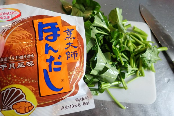 SiSO-LAB☆台湾 味の素 ほんだし(烹大師) ホタテ風味(干貝風味)。いろいろな料理に使ってみたよ。台湾流空心菜炒め。