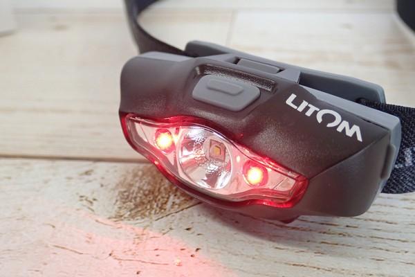 SiSO-LAB☆Litomヘッドライト、単三電池1本。赤色LEDとSOS機能付き。