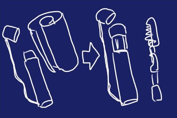 細身の釣竿ケース自作と言うか流用。シマノ・フリーゲーム(仕舞寸法約76cm・ヘッドカバー付けて)用に図面ケース流用。ちょっと外してステッドラー。