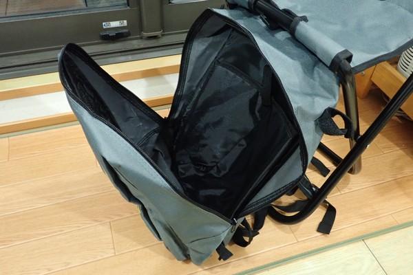 SiSO-LAB☆キャンパーズコレクション リュックチェア CLSB-01。バッグはしっかり開くよ。