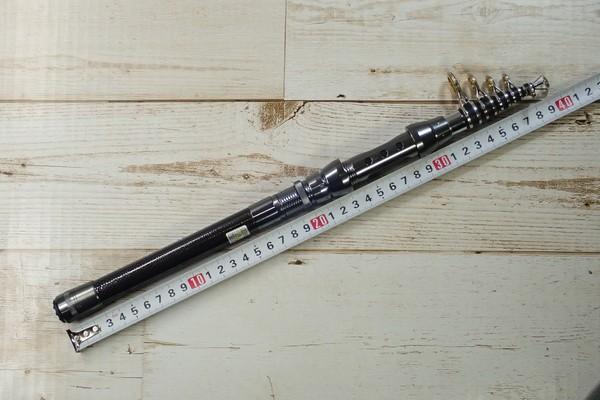 SiSO-LAB☆中華ノーブランド2.1M振り出し竿。仕舞寸法は40cm弱。