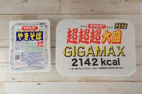 SiSO-LAB☆ペヤング ソース焼きそば 超超超大盛GIGAMAX。普通サイズとパッケージ比較。