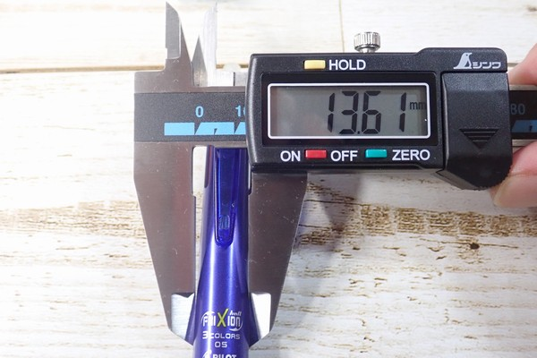 SiSO-LAB☆PILOT フリクションボール3太さ測定詳細写真。