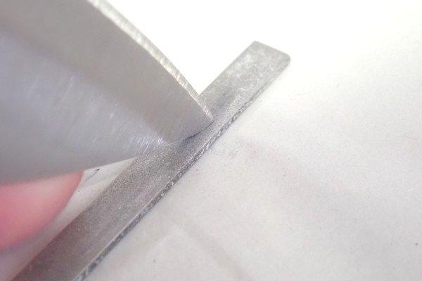 SiSO-LAB☆100均・小出刃包丁、切っ先トリム&研ぐ。切っ先形状の調整。