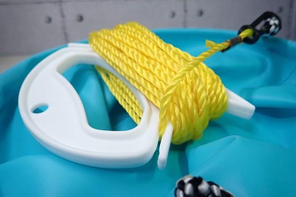 SiSO-LAB☆釣・巻きロープホルダ小T-30。実際にロープを取り付けてみる。まとまりもい感じ。