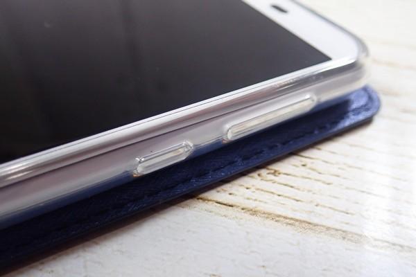SiSO-LAB☆格安SIM、IIJmioでSHARP AQUOS sense plus SH-M07購入。shizuka-will-の手帳型ケース。SH-M07を取り付けてみる。スイッチ部分の位置もいい感じ。