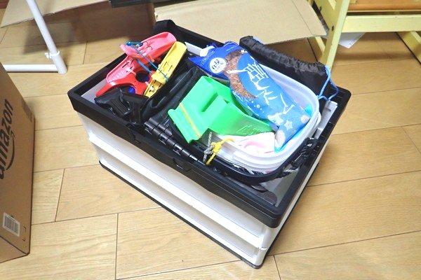 SiSO-LAB☆アウトドアでも家庭でも便利な取っ手付き折りたたみコンテナ。釣り具を色々収納。