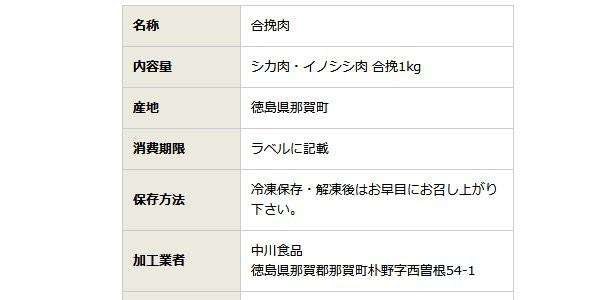 SiSO-LAB☆ふるさと納税・楽天・徳島県那賀町、阿波ジビエ 那賀町産シカ肉 ・イノシシ肉の合挽ミンチ 1kg。