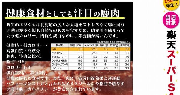 SiSO-LAB☆ふるさと納税・北海道白糠町・エゾ鹿肉スライス600g。鹿肉ってヘルシー。ほかのお肉と比較。